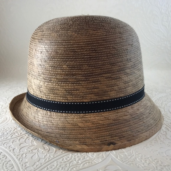 0966c3ad Cloche-style straw hat with thin black ribbon